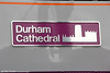 The newly fitted nameplate of 91114 'Durham Cathedral' at York on the 3rd July 2013.