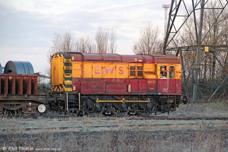 08737 is seen shunting at a frosty Margam, Knuckle Yard on 11th January 2013.