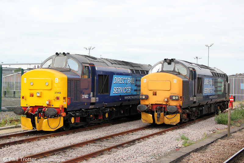 37402 and 37423 'Spirit of the Lakes' stabled at York Parcels Siding on 3rd July 2013.