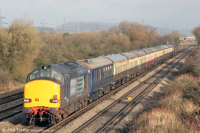 DRS 37612 brings up the rear of 5Z40, 1315 Pengam to Crewe ECS on 22nd December 2013.