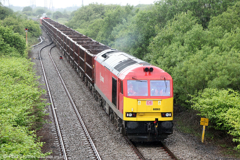 Having reversed at Llandeilo Junction, 60063 heads up the Genwen Loop with 6B01, 1118 Margam to Trostre on 16th June 2013.