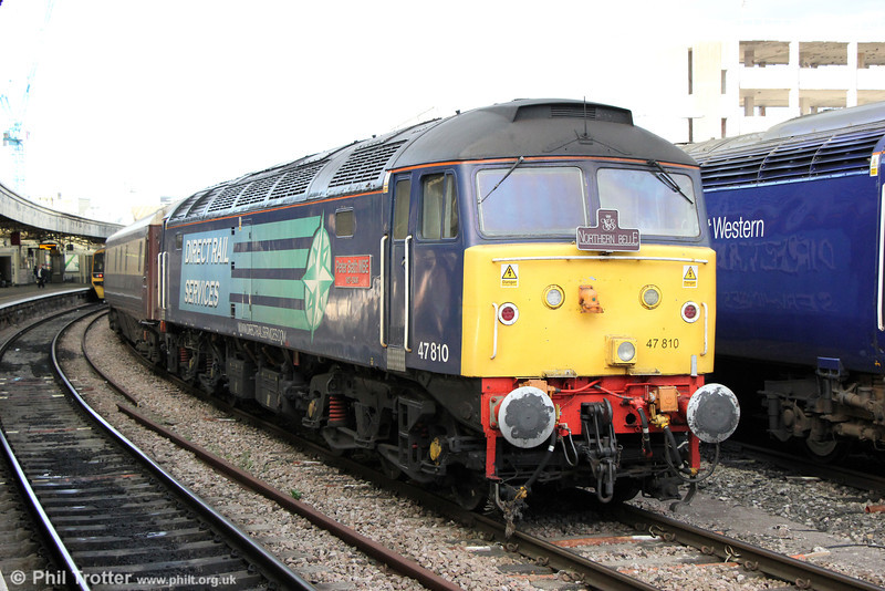 47810 'Peter Bath MBE' waits at Bristol Temple Meads at the rear of 5Z34, 1655 Bedminster to Bath 'Northern Belle' ecs on 26th October 2013.