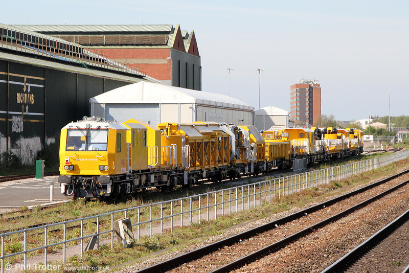 Network Rail's new Windhoff MPV High Output Plant System (HOPS) or 'Factory Train' at it's Swindon High Output Operating Base (HOOB) on 3rd May 2014.