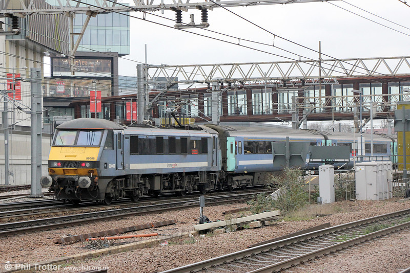 90006 'Roger Ford' propels 1P28, 1230 London Liverpool Street to Norwich into Stratford on 31st January 2014.