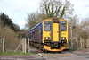 FGW 150244 crosses the Lydney Bypass forming the 1445 Parkend to Lydney Junction on 22nd March 2014.