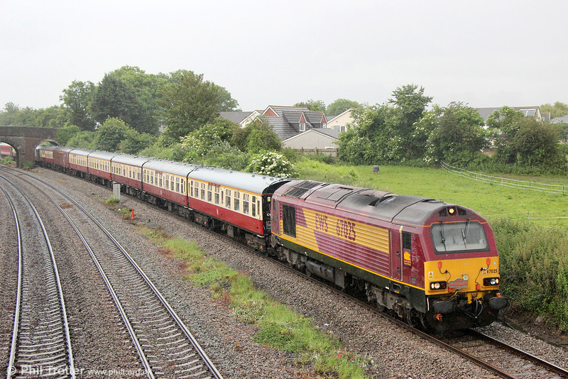 67025 passes Undy with Pathfinder's 1Z23, 0710 Eastleigh to Crewe. 'The Shrewsbury and Chester Explorer' on 7th June 2014.