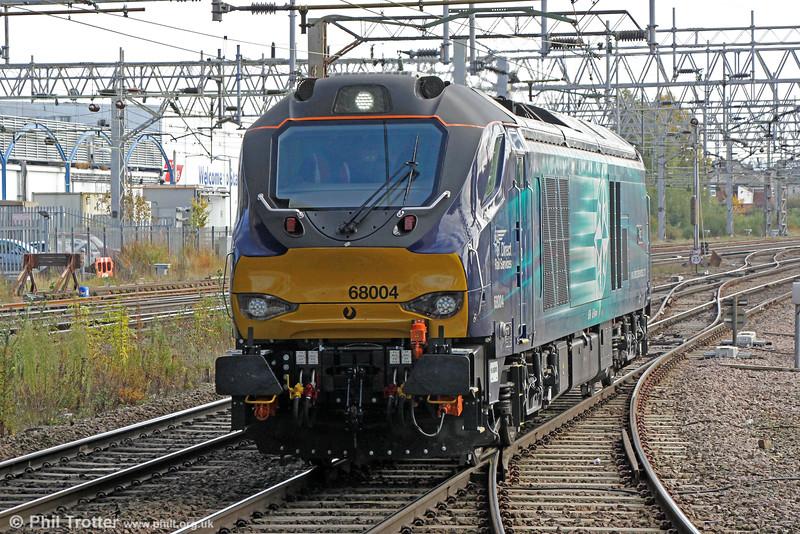 Class 68 no. 68004 'Rapid' passes Stafford running as 0Z34, 1306 Nuneaton to Crewe Gresty Bridge test run on 16th October 2014.
