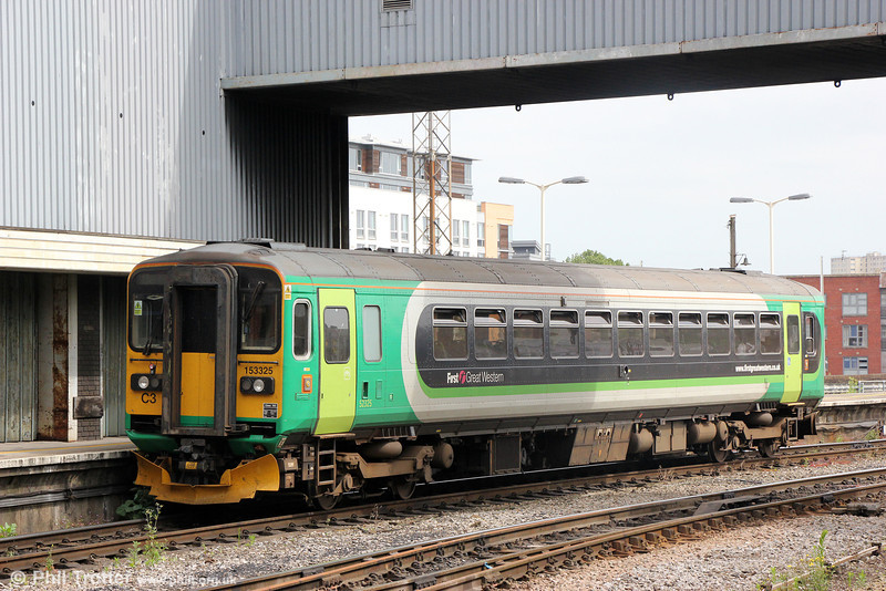 Ex-London Midland 153325 at Bristol Temple Meads on 14th June 2014.