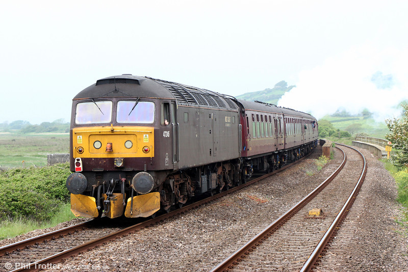WCRC 47245 at passes Kidwelly at the rear of The Railway Touring Company's 1Z50, 0605 Birmingham International to Carmarthen, 'The Southern Irishman' on 31st May 2014.