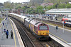 67024, 67006 'Royal Sovereign' and the VSOE Pullman set pass Exeter St. Davids with 1Z80, 1350 Taunton to Plymouth charter on 26th April 2014.