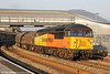 Colas 56302 passes Newport with 6Z45, 1602 Llanwern to Newport Docks on 8th March 2014.