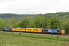 37425 'Sir Robert McAlpine' leads Radio Survey train 1Q14, 0530 Whitland to Crewe past Glanffrwd on 23rd May 2014. 37667 was at the rear. Overhead Line Monitoring Coach 'Mentor' was included to supply power to Survey Coach No. 977868.