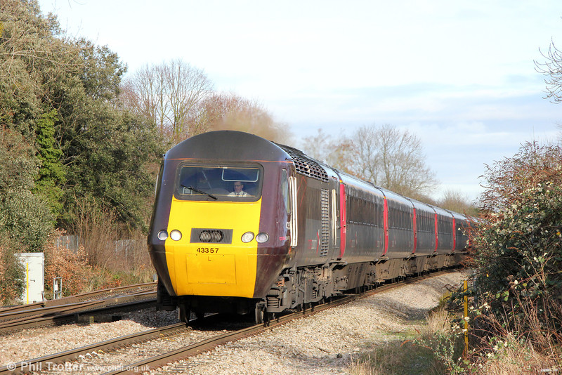 XC 43357 passes Haresfield with 1V50, 0606 Edinburgh to Plymouth on 17th January 2014.
