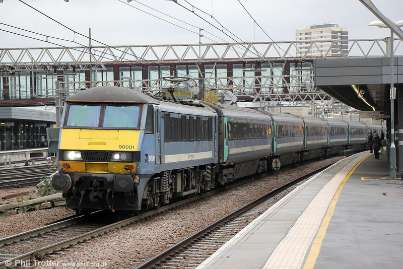 90001 passes Stratford with 1P29, 1030 Norwich to London Liverpool Street on 31st January 2014.