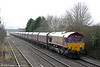 66081 at Ashchurch with the lengthy 4E66, 0855 Margam to Redcar on 27th January 2014.