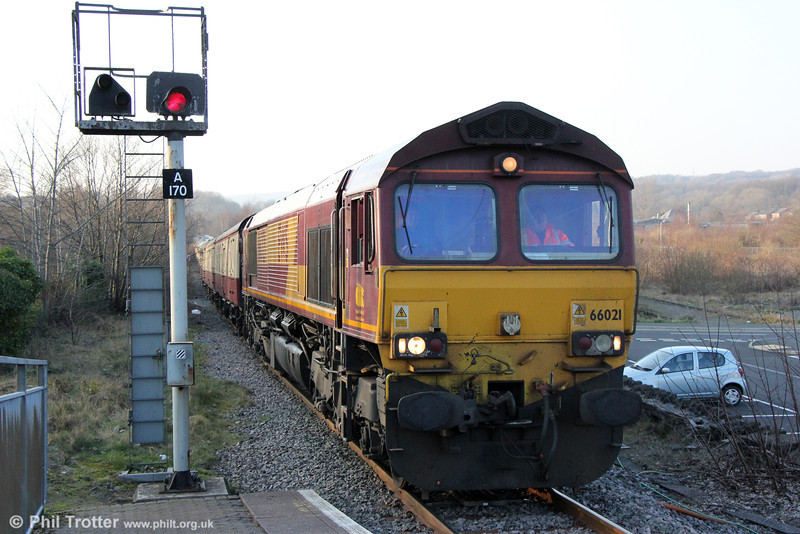 66021 at Aberdare High Level with UK Railtours 1Z64, 1650 Tower Colliery to London Paddington, 'The Tower Gateway' on 9th March 2014.