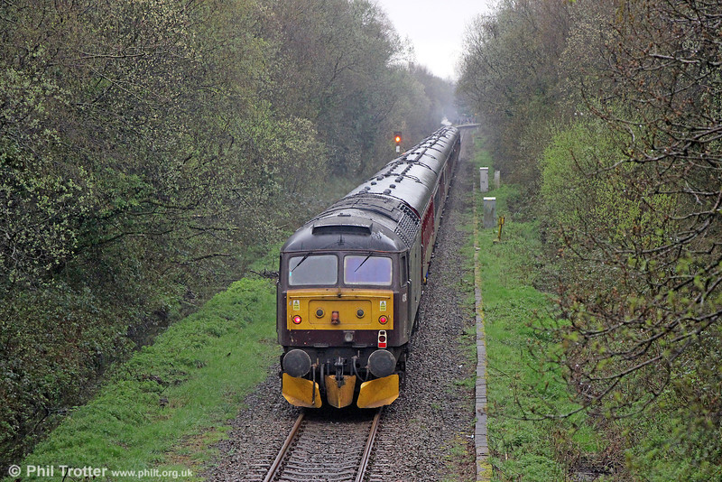 WCRC 47245 at the rear of the Railway Touring Company's 1Z89, 0720 Manchester Victoria to Pengam, 'The Central Wales Explorer' near Pontarddulais on 5th April 2014.