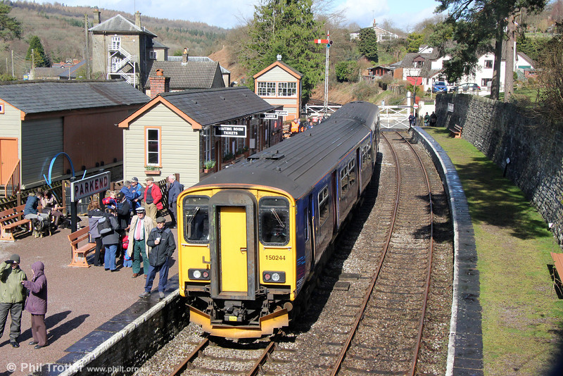 FGW's 150244 waits at Parkend on 22nd March 2014.