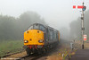 DRS 37605 emerges from the early morning mist at Pantyffynnon with Infrastructure Monitoring train 1Q05, 0549 Landore TMD to Newport on 27th June 2014. This working ran via Gwaun Cae Gurwen, Barry and Tower Colliery.