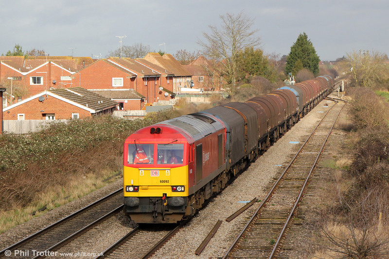 60092 passes Ashchurch with 6V05, 1001 Round Oak to Margam on 27th January 2014.