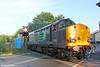 DRS 37605 crosses the A474 at Gwaun Cae Gurwen with Infrastructure Monitoring train 1Q05, 0549 Landore TMD to Newport on 27th June 2014.