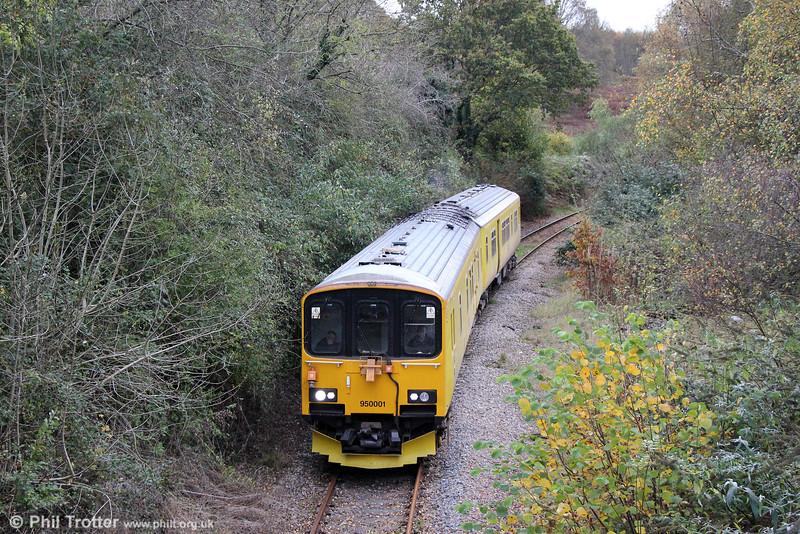 Network Rail's Class 150 derived 950001 at Church Road forming 2Q08, 1251 Alexandra Dock Junction - Pontypridd - Machen Quarry - Alexandra Dock Junction on 1st November 2014.