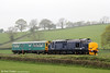 DRS 37423 'Spirit of the Lakes' with inspection saloon 'Caroline' at Llanfihangel with 2Z01, 0850 Newport to Shrewsbury on 28th April 2014.