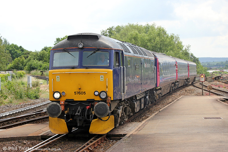 Day Riviera: On summer Saturdays only, FGW is operating 2E75, 1125 Par to Exeter formed of a Class 57 and loco-hauled Mk3 day coaches from the 'Night Riviera'. 57605 'Totnes Castle' approaches Exeter St. Davids on 14th June 2014.