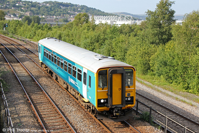 153303 approaches Swansea forming 2V39, 1403 from Shrewsbury on 20th June 2014.