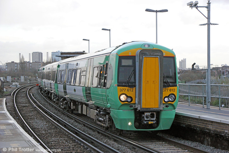 Southern is achieving its 10 car inner suburban service by the introduction of 26 new Class 377/6 units. These are high density new generation Bombardier Electrostar trains, similar to class 379. All are now in service, the final one being accepted during December 2013.  377612 calls at Clapham Junction forming 2Y05, 1443 London Victoria to Dorking on 16th January 2014.