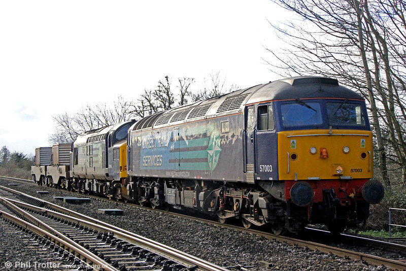 DRS 57003 and 37194 pass Haresfield with 6M56, 1341 Berkeley Power Station to Crewe nuclear nlasks on 17th January 2014.