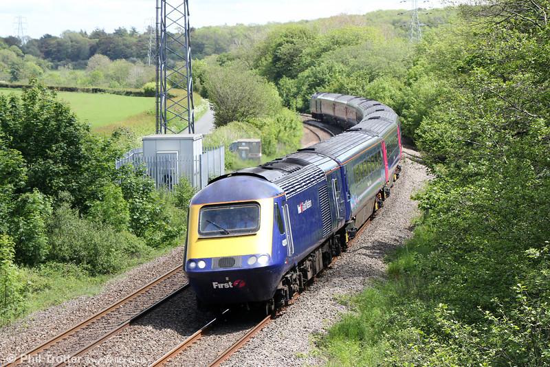 43174 passes Llangewydd with 1B25, 1045 London Paddington to Swansea on 26th May 2014.