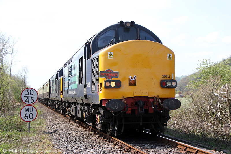 DRS 37612 and 37611 near Llandovery with Pathfinder Tours 1Z49, 0707 Eastleigh to Llandrindod Wells, 'The Heart of Wales Meanderer' on 21st April 2014.