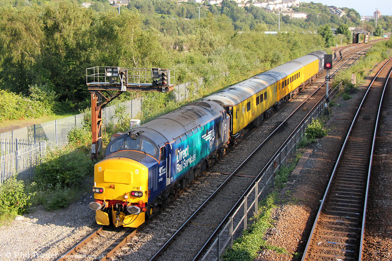 37423 'Spirit of the Lakes' in revised livery trails 1Q13, 1846 Landore TMD to Crewe via Aberdare at Swansea on 20th June 2014.