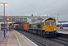 66567 passes Banbury with 4M61, 1254 Southampton Maritime to Trafford Park on 29th January 2014.