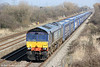 66304 passes Coedkernew with 4V38, 0945 Daventry to Wentloog on 9th March 2014.