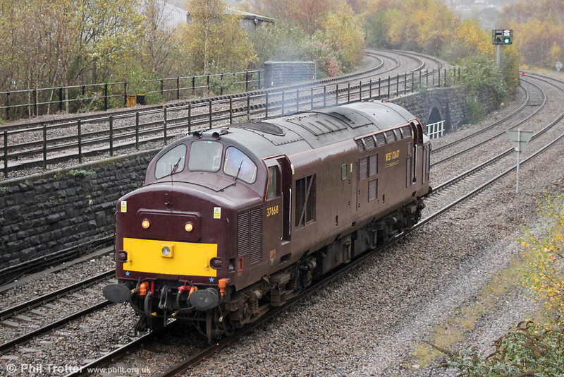 WCRC 37668 return to Swansea after turning at Landore on 13th November 2014.