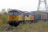 56113 and 56094 propel 6V54, 0535 Chirk to Baglan Bay into the yard at Baglan on 17th October 2014.