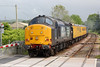 37667 brings up the rear of Radio Survey train 1Q14, 0530 Whitland to Crewe at Llandovery on 23rd May 2014.  37425 'Sir Robert McAlpine' leads.