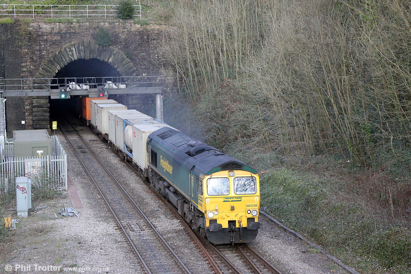 66538 exits Newport Tunnel with 4V64, 1108 Crewe to Wentloog on 1st March 2014.