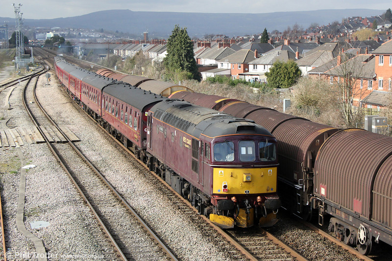 WCRC 33207 'Jim Martin' brings up the rear of Steam Dreams 1Z82, London Victoria to Cardiff Central, 'The St. David's Day Cathedrals Express at East Usk on 1st March 2014.
