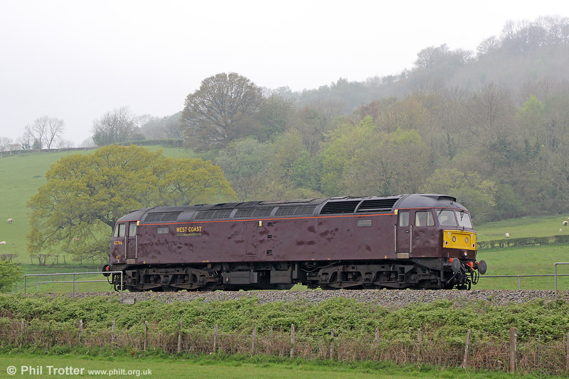 Running as an escort to the day's GBVII railtour, WCRC 47746 at Llanfihangel forming 0Z72, 0755 Bristol Temple Meads to Preston on 28th April 2014.