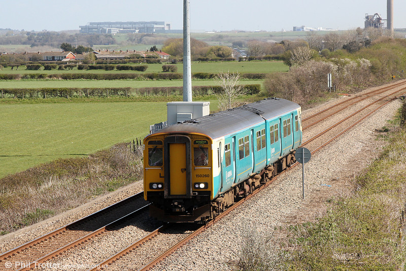150260 passes St. Athan forming 2E08, 1138 Merthyr Tydfil to Bridgend on 13th April 2014.