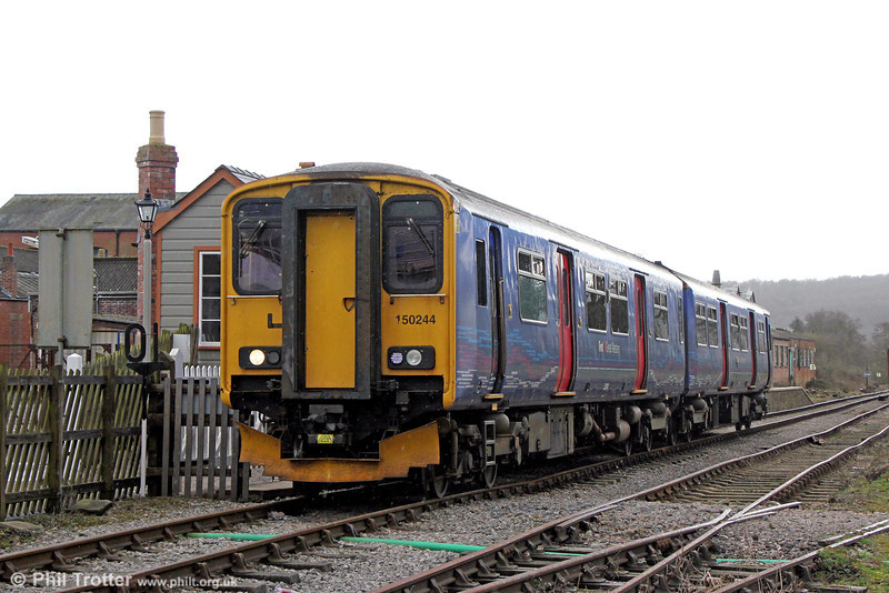 FGW 150244 departs from Whitecroft, DFR, forming the 1214 Lydney Junction to Parkend on 22nd March 2014.