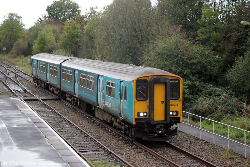 150278 calls at Llandeilo forming 2V38, 0900 Shrewsbury to Newport on 11th October 2014.