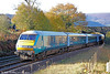 DVT 82307 leads 1V74, 0807 Holyhead to Cardiff Central 'Rugex' past Penpergwm on 22nd November 2014.