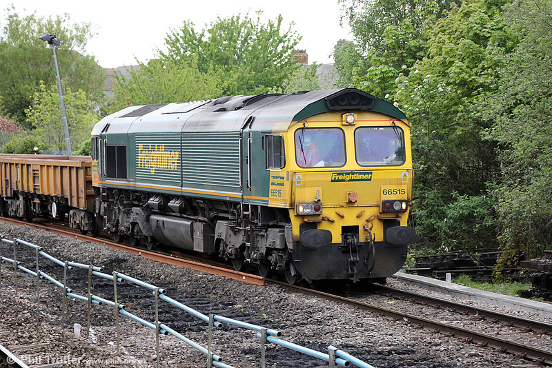 66515 waits at Cardiff East during engineering work on 3rd May 2014.