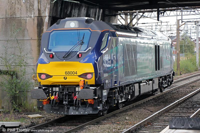 New Class 68 no. 68004 'Rapid' passes Stafford running as 0Z34, 1100 Crewe Gresty Bridge to Nuneaton test run on 16th October 2014.