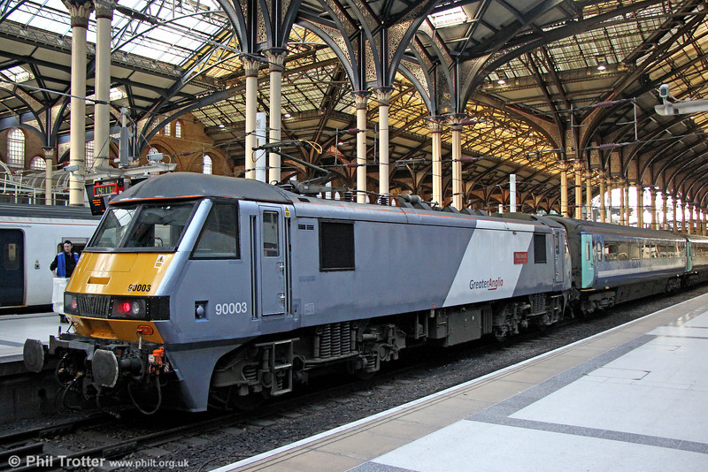 GA 90003 'Raedwald' at London Liverpool Street, having arrived with 1P35, 1200 from Norwich on 8th February 2014.