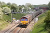 66135 passes Bourton with 6V13, 0812 Dollands Moor to Margam on 17th May 2014.